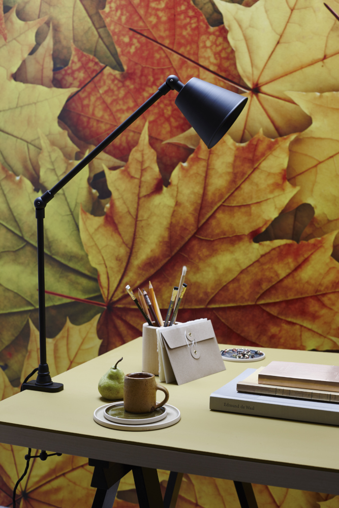 table lamp office storage autumn journals