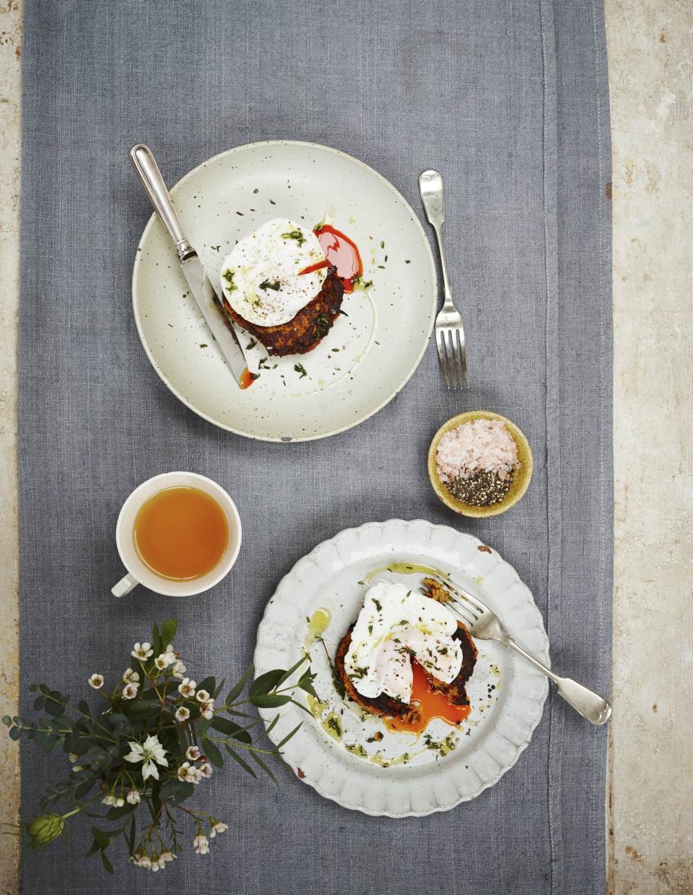 Sweet potato rosti served with a free range poached egg. Food photographer Joanna Henderson for Kyle Books